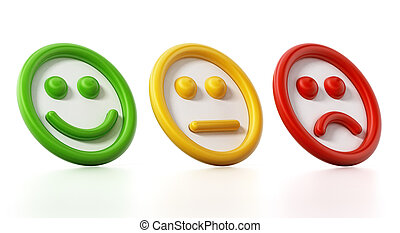 Green, yellow and red faces showing satisfaction levels. 3D...