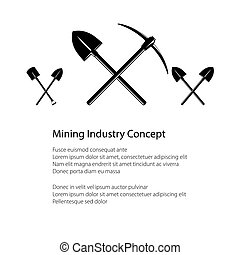 Mining Industry and Construction Concept, Crossed Shovel and...