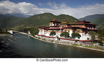 Dzong - Punakha dzong, placed between two rivers in Bhutan.
