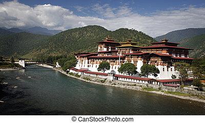 Dzong - Punakha dzong, placed between two rivers in Bhutan.