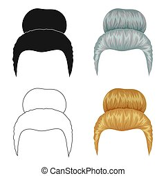 Blond hair with a shingle.Back hairstyle single icon in...