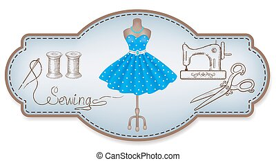 Decorative frame for workshop advertising stickers with  hand drawn dress and sewing tools