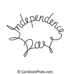 Caligraphic inscription hand written Independence Day by a...