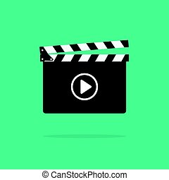 Clapperboard icon vector isolated on color background, flat...