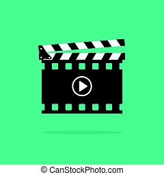 Clapperboard vector icon isolated, clapboard slate...