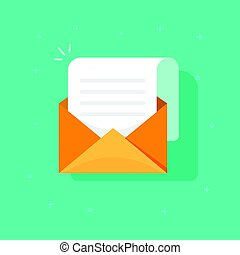 New email message icon, flat carton envelope with open mail correspondence, e-mail letter clipart
