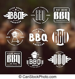 Set of barbecue labels and emblems