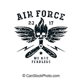Air force emblem. Graphic design for t-shirt. Black print on...