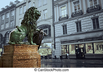 bavarian lion statue at Munich Alte residence palace in...
