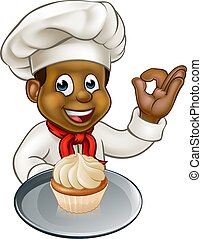 Cartoon Pastry Chef Baker With Fairy Cake - Black chef or...
