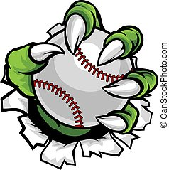 Monster or animal claw holding Baseball Ball - A monster or...