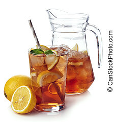 Ice tea - Pitcher with glass of lemon ice tea isolated on...