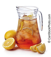 Ice tea - Pitcher of lemon ice tea isolated on white...