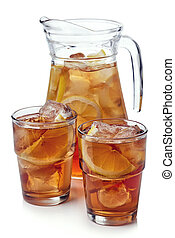 Ice tea - Pitcher with two glasses of lemon ice tea isolated...