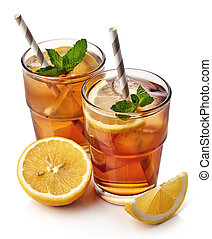 Ice tea - Glass of lemon ice tea isolated on white...