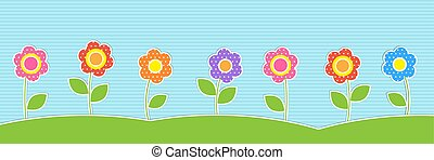 Vector horizontal background with cute flowers. Summer or...