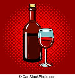 Bottle of wine with glass pop art vector