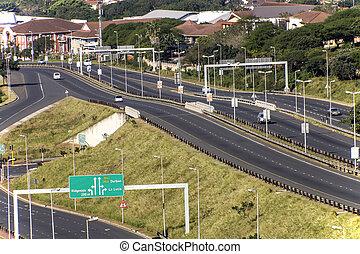 Freeway Passing Through Mhlanga Ridge in Durban South Africa...