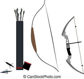 Set of bows, arrowheads and quiver of arrows. Vector illustration.
