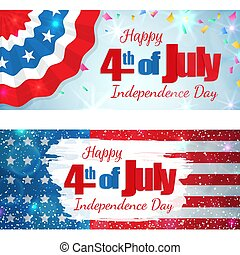 Fourth of July, Independence Day horizontal banner