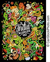 Cartoon cute doodles hand drawn India illustration. Colorful...