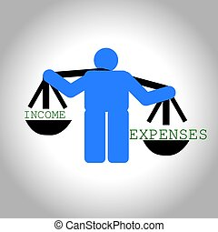 Man weighing income and expenses