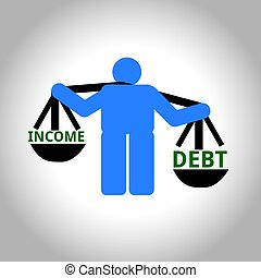 Man weighing income and debt