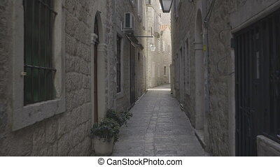 A narrow street in the old part of Budva, Montenegro