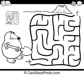 maze with mole coloring page - Black and White Cartoon...