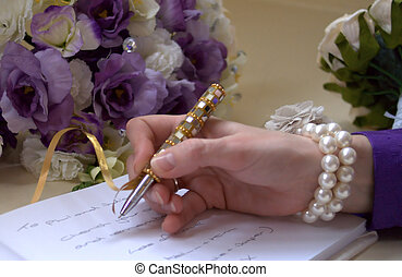 legal binding signature at a wedding ceremony