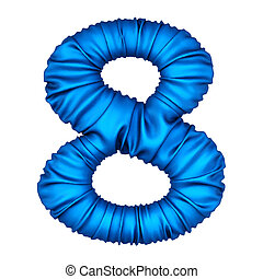 digits made from blue fabric. Isolated on white. 3D...