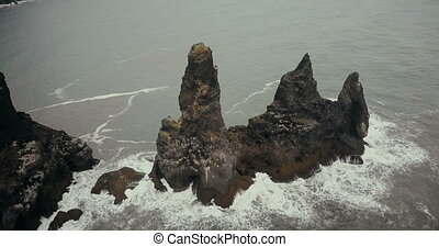 Aerial view of the mountains troll toes with seagulls nests...