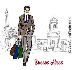 man in Buenos Aires - Hand-drawn sketch of man with shopping...