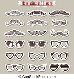 Moustaches and glasses in hipster style for party or...