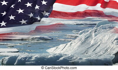 Melting glaciers with USA flag - Melting glaciers with USA...