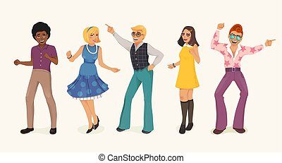 Dancing people in retro style. - Dancing people in a retro...