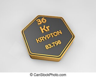 krypton - Kr - chemical element periodic table hexagonal...