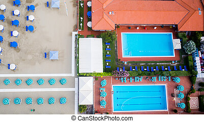 Beach, Italy - Aerial view a swimming pool in Italy