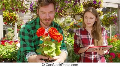 People watching flowers in garden - Professional man and...