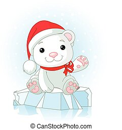 Christmas Polar Bear cub waiving hello