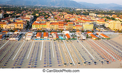 Private Beach, Aerial view, Tuscany - Aerial view of a...