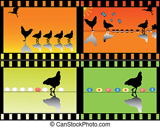 chock with chicken in film strips