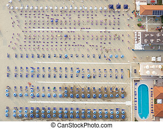 Versilia, Italy - Aerial view of the the beach of...