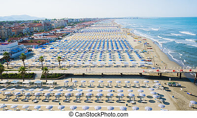 Versilia, Italy - Aerial view of the the beach of lido di...