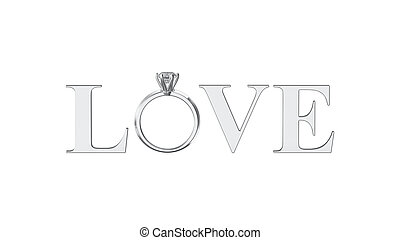 3D illustration isolated silver text word love with diamond...