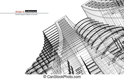 Urbanistic skyscraper. Abstract 3D render of building wire...