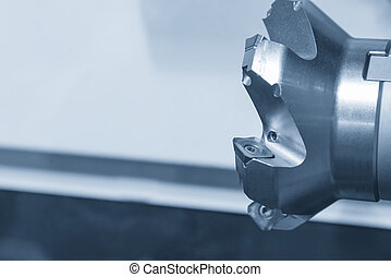 Closeup the index-able cutting tool for CNC machining...