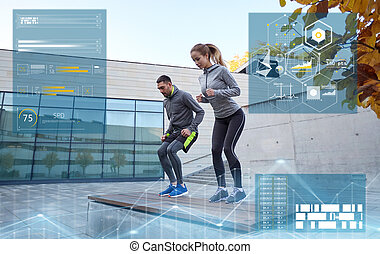 man and woman exercising on bench outdoors