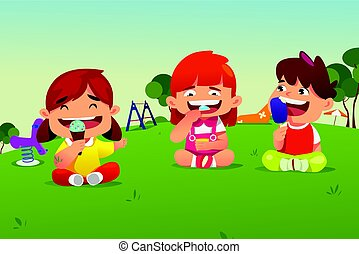 Kids Eating Ice Cream in a Park