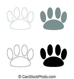 Animal footprint   the black and grey color set icon .